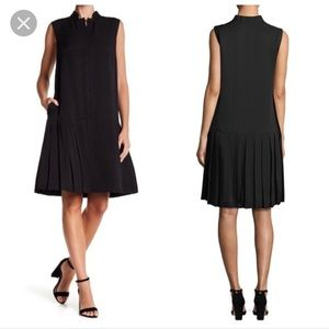 Lafayette 148 MINKA Black Pleated Drop Waist Dress